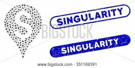 Mosaic Bank Map Marker And Rubber Stamp Watermarks With Singularity Caption. Mosaic Vector Bank Map