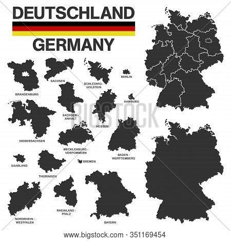 Illustation - Details Of German Map With Region Boarders, Federal States In Black On White Backgroun