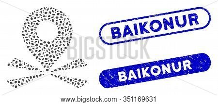 Mosaic Marker Position And Grunge Stamp Seals With Baikonur Phrase. Mosaic Vector Marker Position Is