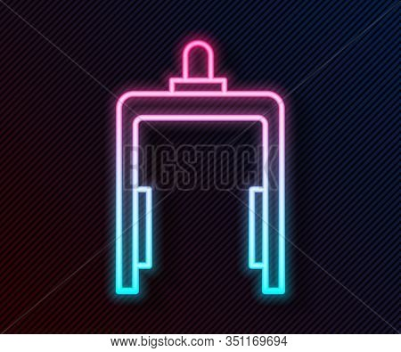 Glowing Neon Line Metal Detector In Airport Icon Isolated On Black Background. Airport Security Guar