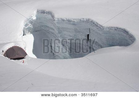 Tent Near Crevasse Edge