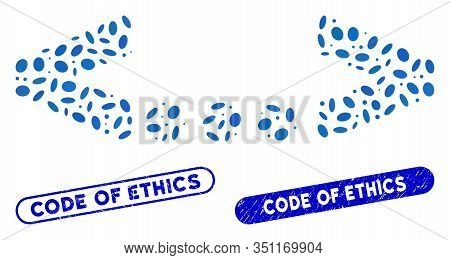 Mosaic Inline Code And Grunge Stamp Seals With Code Of Ethics Text. Mosaic Vector Inline Code Is Com