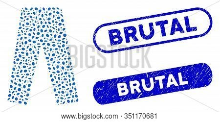Collage Jeans And Distressed Stamp Seals With Brutal Phrase. Mosaic Vector Jeans Is Formed With Rand