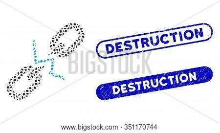 Mosaic Broken Chain Link And Rubber Stamp Seals With Destruction Text. Mosaic Vector Broken Chain Li