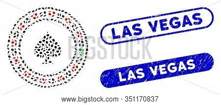Mosaic Casino Roulette And Distressed Stamp Seals With Las Vegas Text. Mosaic Vector Casino Roulette