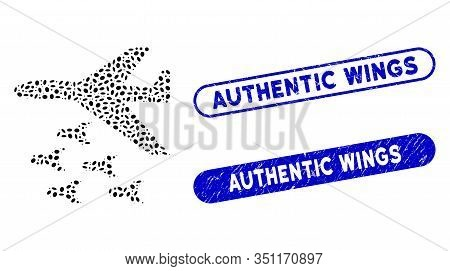 Mosaic Bomber Bombs And Rubber Stamp Seals With Authentic Wings Caption. Mosaic Vector Bomber Bombs