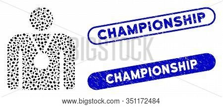 Mosaic Champion And Distressed Stamp Seals With Championship Text. Mosaic Vector Champion Is Compose