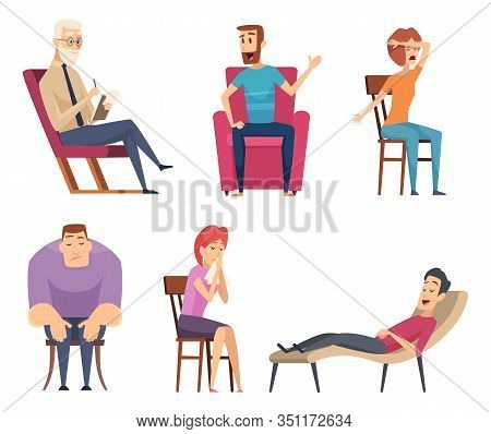 Psychology Consultant. Psychotherapy Helping Consulting Male And Female Persons Sitting In Sofa And