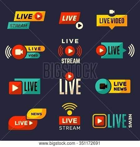 Live Stream Icon. News Or Movie Broadcasting Play Tv Badges Collection Vector Set. Live News, Stream