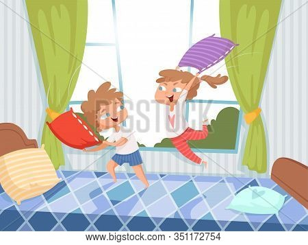 Pillow Game. Kids In Children Room Jumping On Bed Pyjama Party Funny Playful Characters With Pillows