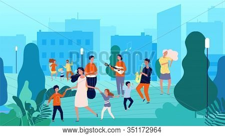 Street Musicians. Musical Fest, Family Dancing. Parents And Children Having Fun With Music Vector Il
