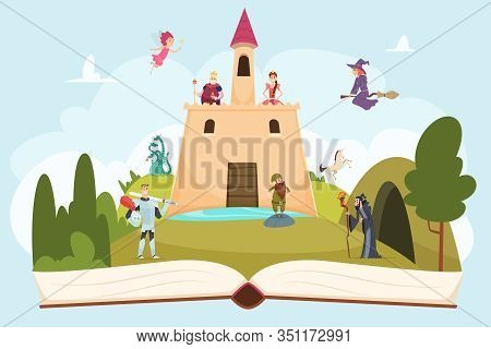 Open Fairy Tale Book. Fantasy Background With Funny Mascot Princess Knight Wizard Witch Vector Carto