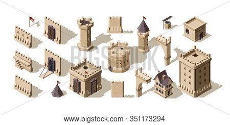 Castles Isometric. Medieval Buildings Brick Wall For Low Poly Game Asset Old Fort Vector Set. Archit