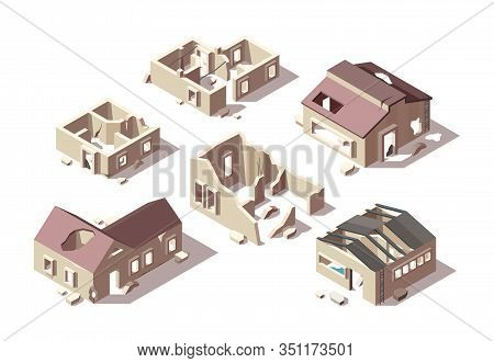 Abandoned Buildings. Isometric Broken Houses City Ruined Objects Vector Architectural Objects Set. A