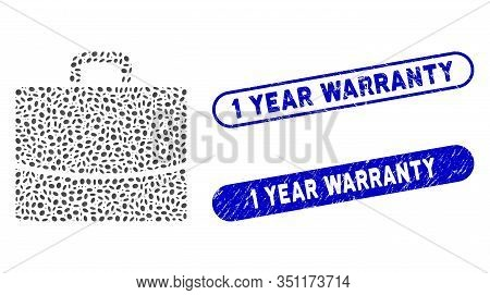Mosaic Briefcase And Distressed Stamp Seals With 1 Year Warranty Text. Mosaic Vector Briefcase Is De