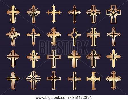 Christians Cross. Religion Vector Symbols Jesus Catholicism Tribal Authentic Vector Icons Set. Symbo