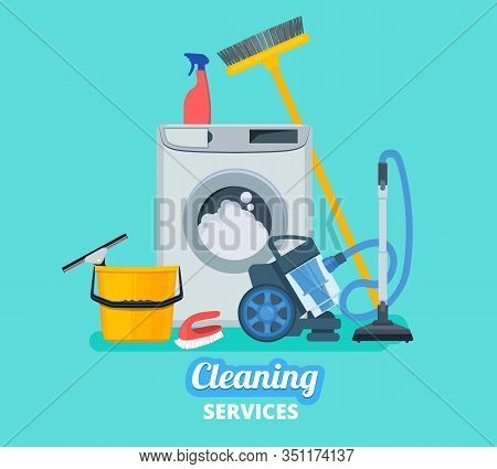 Cleaning Service. Household Items Kitchen Spray Bucket Vacuum Cleaner Cleaning Supplies Vector Conce