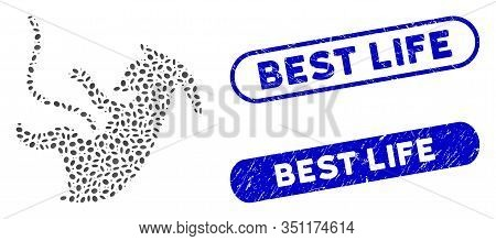 Mosaic Alien Embryo And Distressed Stamp Seals With Best Life Caption. Mosaic Vector Alien Embryo Is