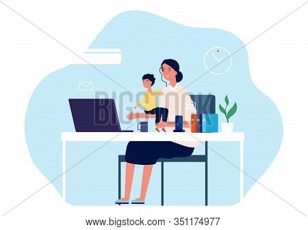 Mother Working. Young Woman With Baby Sitting At Desk And Computer. Freelance Worker, Motherhood Or