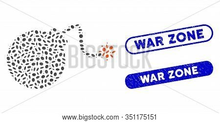 Mosaic Bomb And Grunge Stamp Seals With War Zone Caption. Mosaic Vector Bomb Is Created With Randomi