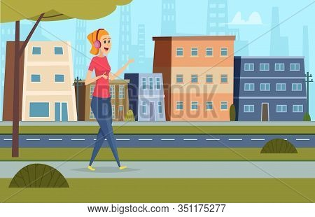 Listen Music On Street. Outdoor Character Standing In Urban Landscape With Headset And Smartphone St