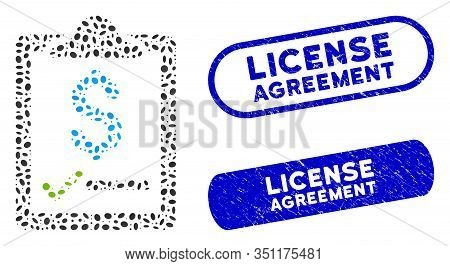 Mosaic Contract And Rubber Stamp Seals With License Agreement Caption. Mosaic Vector Contract Is Des