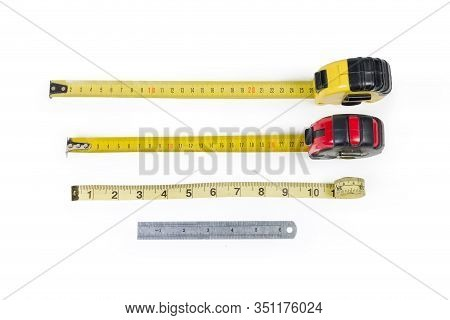Used Two Self-retracting Tape Measures With Flexible Rulers With Metric Scales, Plastic Tape Measure