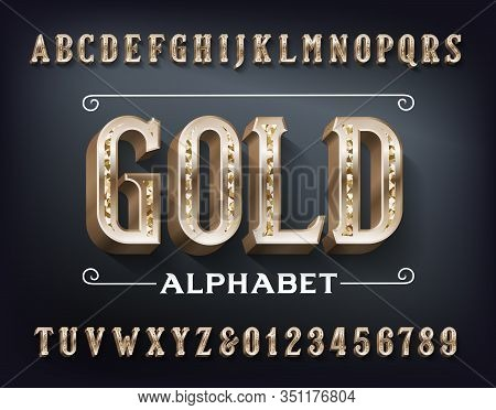 Gold Alphabet Font. 3d Ornate Golden Metal Letters And Numbers. Stock Vector Typeset For Your Design