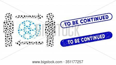 Collage Men Video Exchange And Distressed Stamp Seals With To Be Continued Text. Mosaic Vector Men V