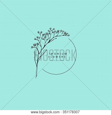 Limonium, Babys Breath Logo And Branch. Hand Drawn Wedding Herb, Plant And Monogram With Elegant Lea