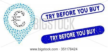 Mosaic Euro Pushpin And Rubber Stamp Seals With Try Before You Buy Phrase. Mosaic Vector Euro Pushpi