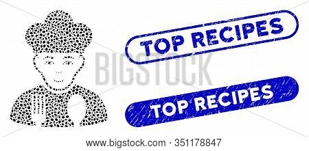 Mosaic Cook And Rubber Stamp Seals With Top Recipes Text. Mosaic Vector Cook Is Created With Random