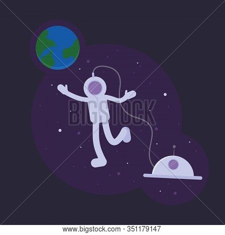 Astronaut Into Open Space. International Cosmonautics Day April 12 Card. Spaceman Fly Between Stars.