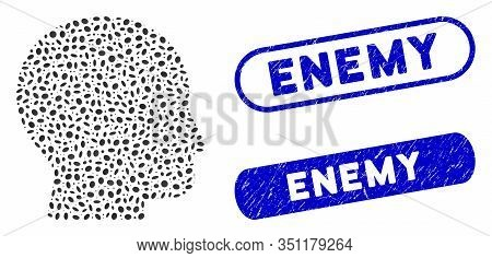 Collage Bald Head And Rubber Stamp Seals With Enemy Text. Mosaic Vector Bald Head Is Created With Sc