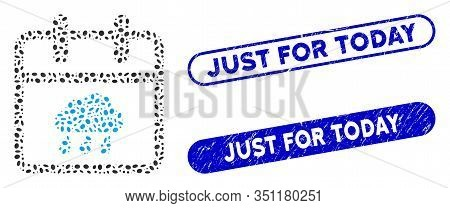 Mosaic Rainy Day And Rubber Stamp Seals With Just For Today Text. Mosaic Vector Rainy Day Is Compose