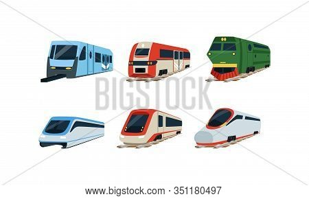 Train Locomotives Collection, Modern And Retro Railway Carriages, Evolution Of Trains Concept Vector