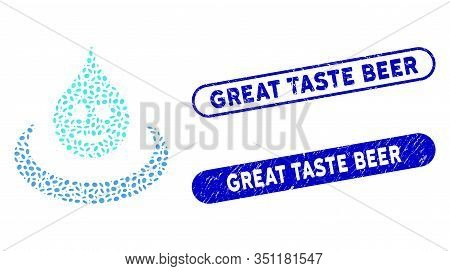 Mosaic Smile Drop Ripple And Rubber Stamp Seals With Great Taste Beer Text. Mosaic Vector Smile Drop
