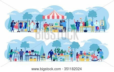 Flea Market With People Selling Old Secondhand Stuffs At Market Fair Shops Flat Vector Illustration.