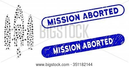 Mosaic Space Shuttle And Distressed Stamp Seals With Mission Aborted Text. Mosaic Vector Space Shutt