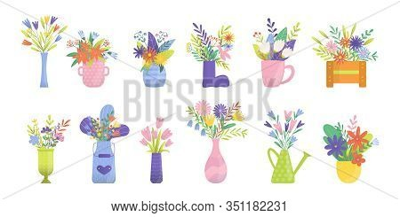 Bouquets Of Flowers, Florist Of Tulips, Orchids, Lilies, Roses Or Callas, Hand Bells In Floral Vases