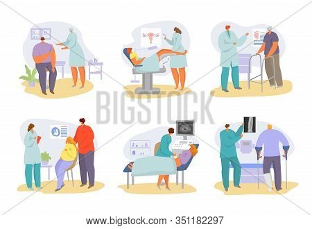 Doctors Appointment With Patients At Hospital And Medical Consultation In Clinic Vector Illustration