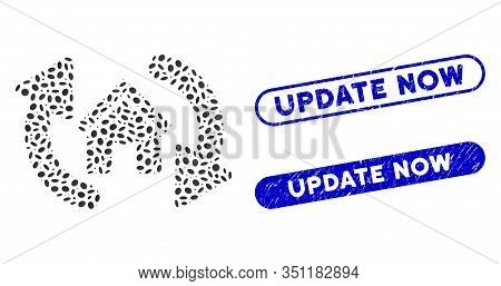 Mosaic Update House And Rubber Stamp Seals With Update Now Text. Mosaic Vector Update House Is Desig