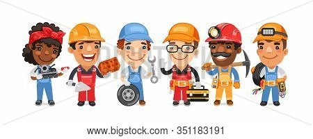 A Group Of Cartoon Worker Characters With Different Professions Stand On A White Background. Mechani