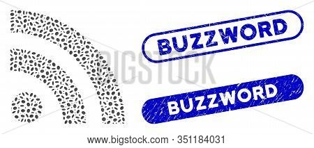 Mosaic Rss And Rubber Stamp Seals With Buzzword Caption. Mosaic Vector Rss Is Composed With Randomiz
