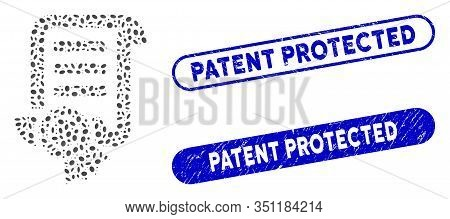 Mosaic Patent And Grunge Stamp Seals With Patent Protected Text. Mosaic Vector Patent Is Created Wit