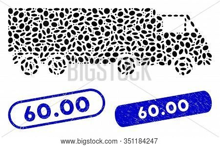 Mosaic Wagon And Corroded Stamp Seals With 60.00 Caption. Mosaic Vector Wagon Is Created With Scatte