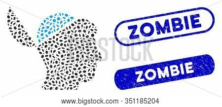 Mosaic Open Brain And Distressed Stamp Seals With Zombie Text. Mosaic Vector Open Brain Is Formed Wi