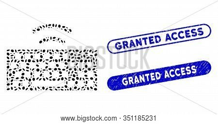Mosaic Wireless Keyboard And Rubber Stamp Seals With Granted Access Caption. Mosaic Vector Wireless