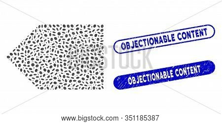 Mosaic Tag And Rubber Stamp Seals With Objectionable Content Text. Mosaic Vector Tag Is Formed With