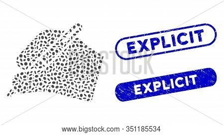 Mosaic Signature Hand And Corroded Stamp Watermarks With Explicit Phrase. Mosaic Vector Signature Ha